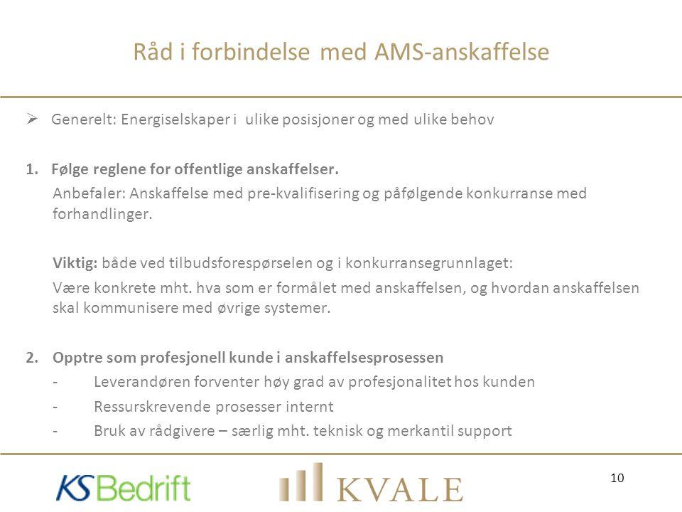 Råd i forbindelse med AMS-anskaffelse  Generelt: Energiselskaper i ulike posisjoner og med ulike behov 1.Følge reglene for offentlige anskaffelser. A