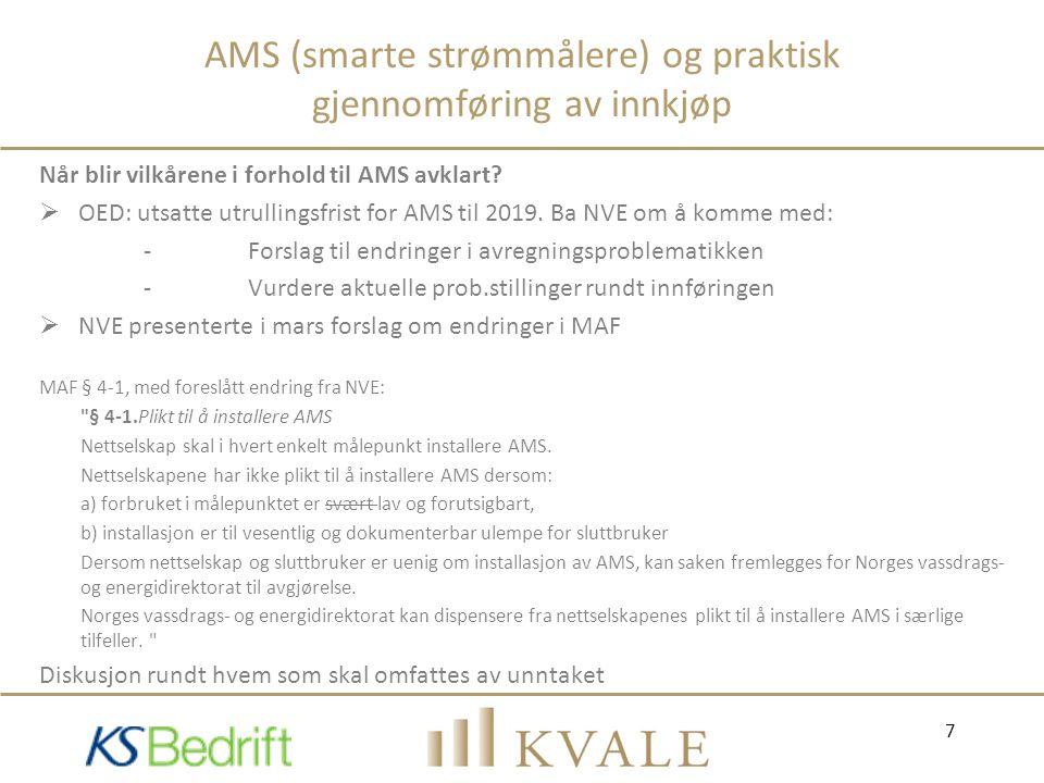AMS (smarte strømmålere) og praktisk gjennomføring av innkjøp Når blir vilkårene i forhold til AMS avklart?  OED: utsatte utrullingsfrist for AMS til