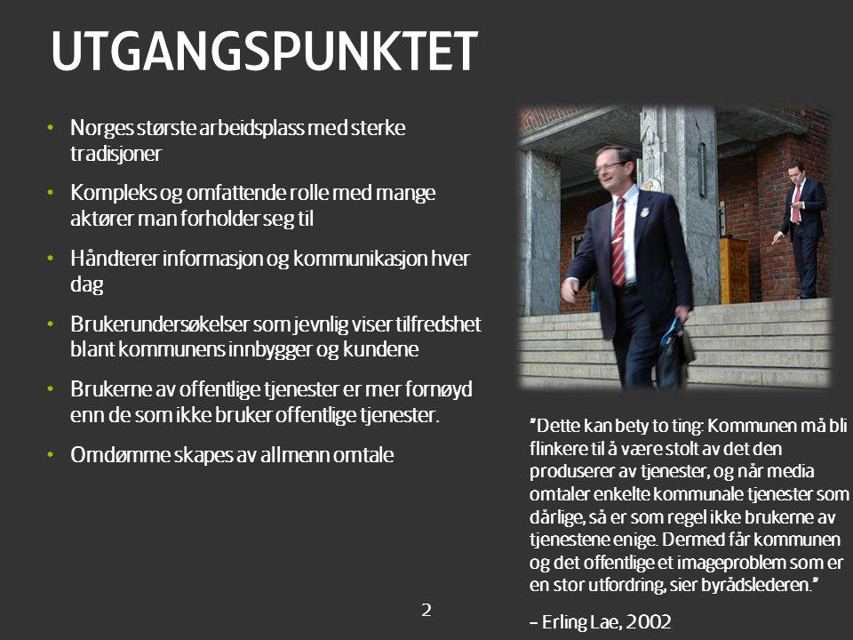 2 UTGANGSPUNKTET • Norges største arbeidsplass med sterke tradisjoner • Kompleks og omfattende rolle med mange aktører man forholder seg til • Håndter