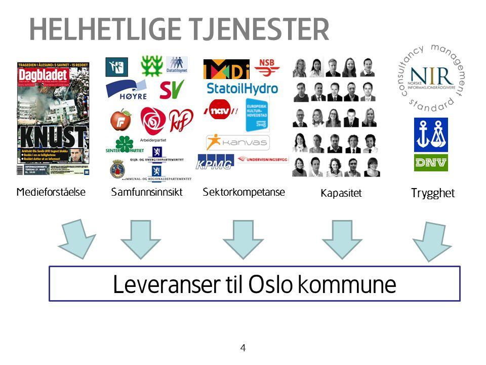 4 HELHETLIGE TJENESTER Leveranser til Oslo kommune MedieforståelseSamfunnsinnsiktSektorkompetanse Kapasitet Trygghet