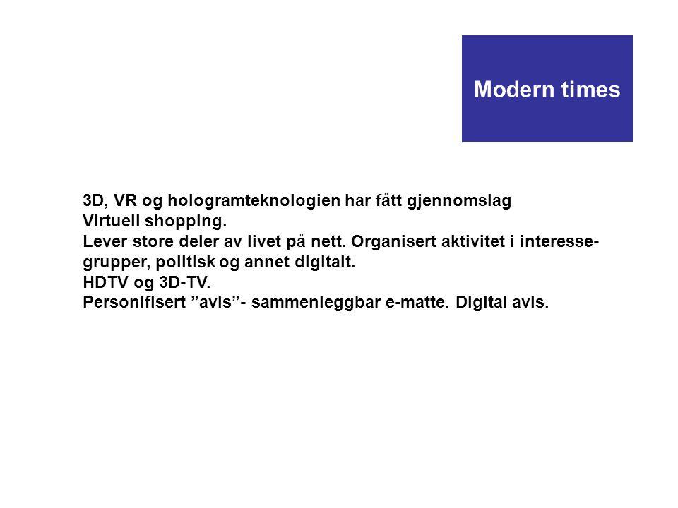 Modern times 3D, VR og hologramteknologien har fått gjennomslag Virtuell shopping. Lever store deler av livet på nett. Organisert aktivitet i interess
