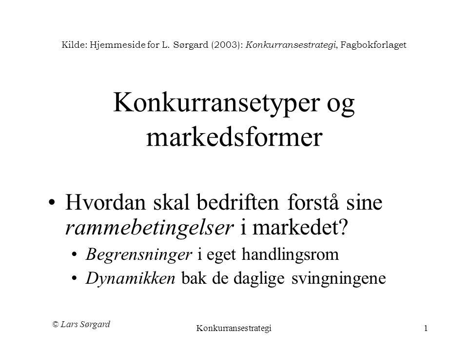 © Lars Sørgard Konkurransestrategi1 Kilde: Hjemmeside for L. Sørgard (2003): Konkurransestrategi, Fagbokforlaget Konkurransetyper og markedsformer •Hv
