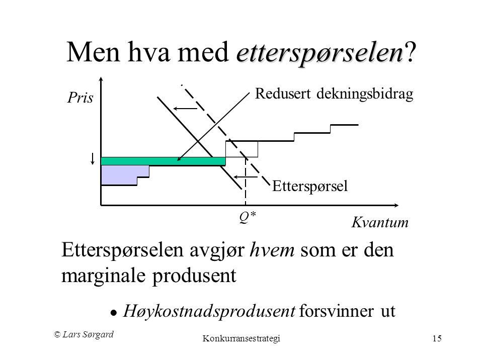 © Lars Sørgard Konkurransestrategi15 etterspørselen Men hva med etterspørselen? Q* Kvantum Pris Etterspørsel Redusert dekningsbidrag Etterspørselen av