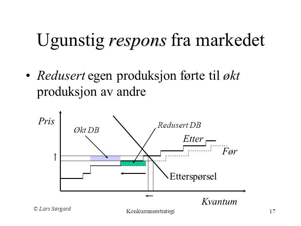 © Lars Sørgard Konkurransestrategi17 respons Ugunstig respons fra markedet •Redusert egen produksjon førte til økt produksjon av andre Kvantum Ettersp