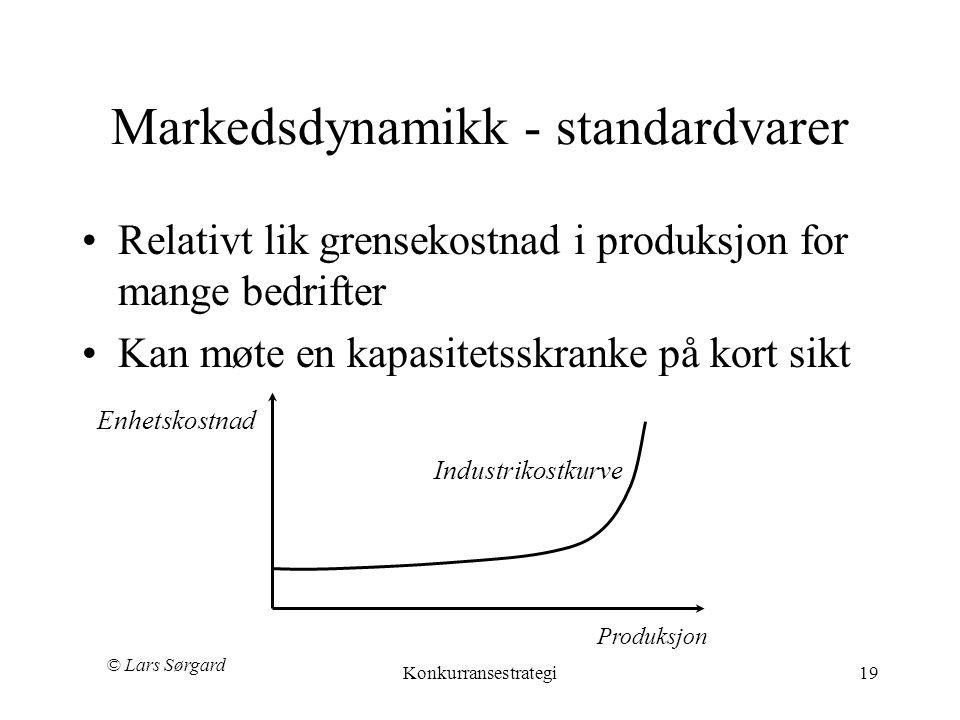 © Lars Sørgard Konkurransestrategi19 Markedsdynamikk - standardvarer •Relativt lik grensekostnad i produksjon for mange bedrifter •Kan møte en kapasitetsskranke på kort sikt Enhetskostnad Produksjon Industrikostkurve