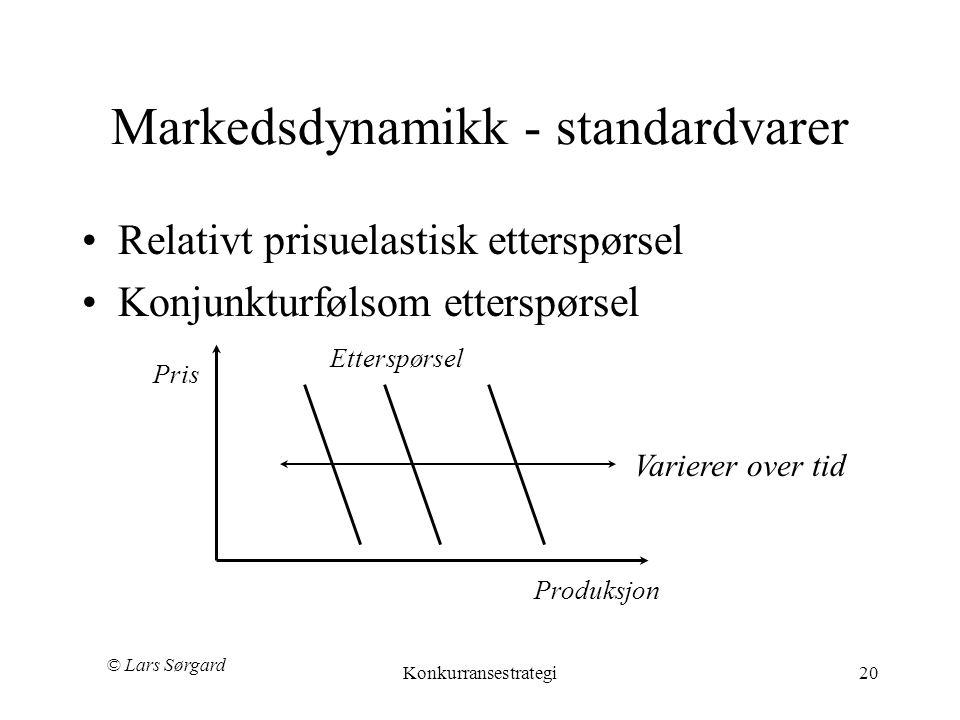 © Lars Sørgard Konkurransestrategi20 Markedsdynamikk - standardvarer •Relativt prisuelastisk etterspørsel •Konjunkturfølsom etterspørsel Produksjon Pris Varierer over tid Etterspørsel