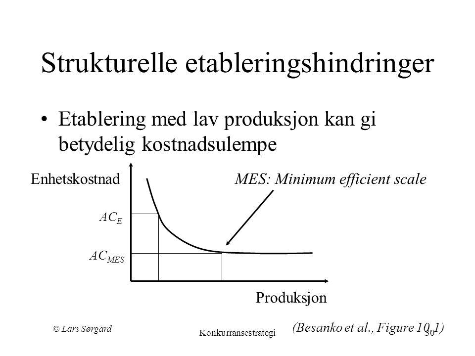 © Lars Sørgard Konkurransestrategi30 Strukturelle etableringshindringer •Etablering med lav produksjon kan gi betydelig kostnadsulempe Produksjon EnhetskostnadMES: Minimum efficient scale AC MES AC E (Besanko et al., Figure 10.1)