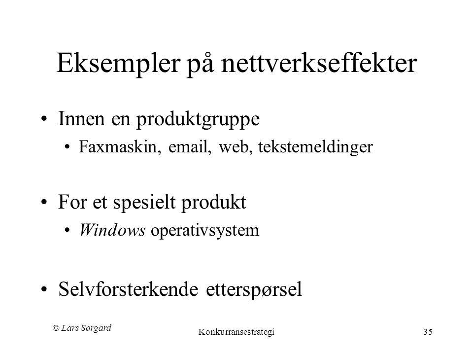 © Lars Sørgard Konkurransestrategi35 Eksempler på nettverkseffekter •Innen en produktgruppe •Faxmaskin, email, web, tekstemeldinger •For et spesielt produkt •Windows operativsystem •Selvforsterkende etterspørsel