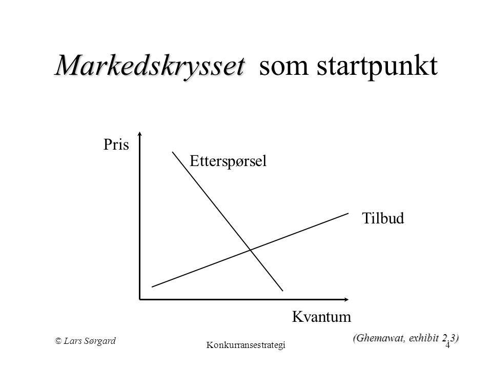 © Lars Sørgard Konkurransestrategi4 Markedskrysset Markedskrysset som startpunkt Tilbud Etterspørsel Pris Kvantum (Ghemawat, exhibit 2.3)