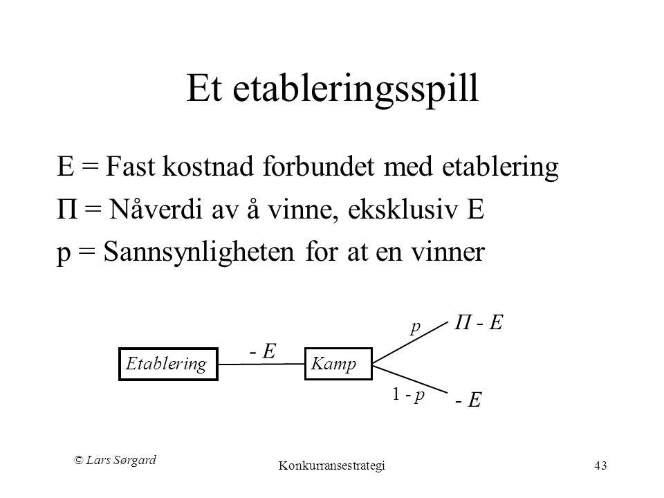 © Lars Sørgard Konkurransestrategi43 Π - E p Et etableringsspill E = Fast kostnad forbundet med etablering П = Nåverdi av å vinne, eksklusiv E p = Sannsynligheten for at en vinner 1 - p Etablering - E Kamp - E