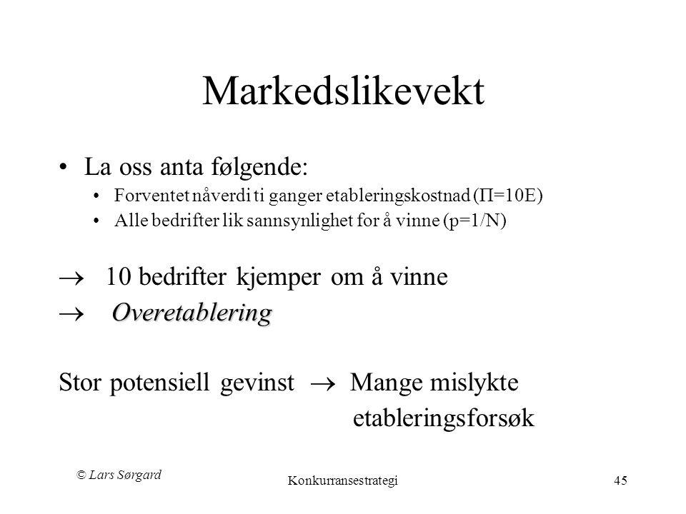 © Lars Sørgard Konkurransestrategi45 Markedslikevekt •La oss anta følgende: •Forventet nåverdi ti ganger etableringskostnad (П=10E) •Alle bedrifter li