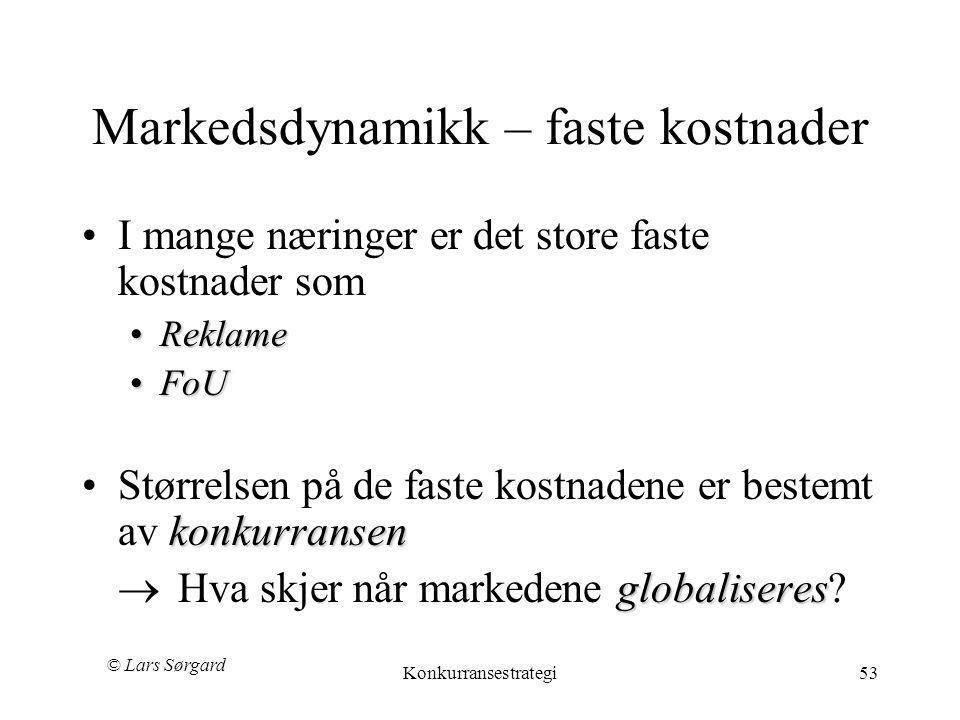 © Lars Sørgard Konkurransestrategi53 Markedsdynamikk – faste kostnader •I mange næringer er det store faste kostnader som •Reklame •FoU konkurransen •Størrelsen på de faste kostnadene er bestemt av konkurransen globaliseres  Hva skjer når markedene globaliseres?