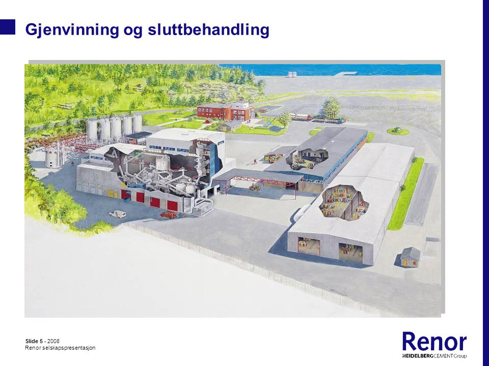 Slide 5 - 2008 Renor selskapspresentasjon Gjenvinning og sluttbehandling