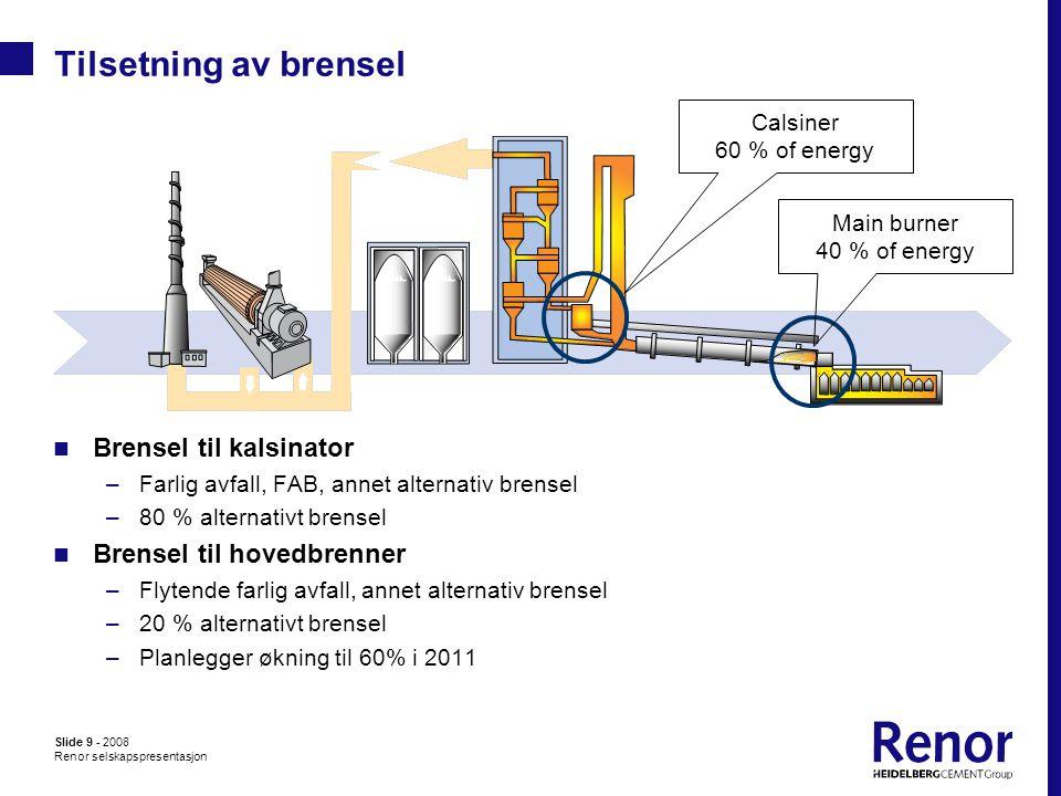Slide 9 - 2008 Renor selskapspresentasjon Tilsetning av brensel  Brensel til kalsinator –Farlig avfall, FAB, annet alternativ brensel –80 % alternativt brensel  Brensel til hovedbrenner –Flytende farlig avfall, annet alternativ brensel –20 % alternativt brensel –Planlegger økning til 60% i 2011 Calsiner 60 % of energy Main burner 40 % of energy