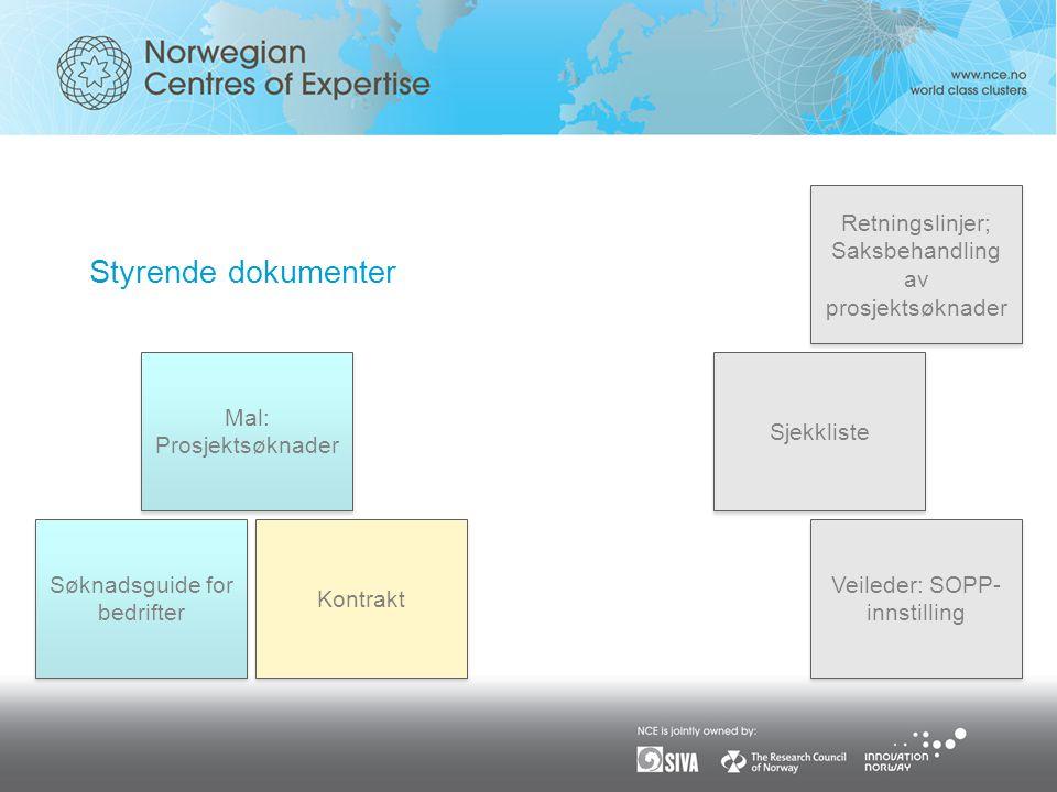 Styrende dokumenter Kontrakt Retningslinjer; Saksbehandling av prosjektsøknader Mal: Prosjektsøknader Veileder: SOPP- innstilling Søknadsguide for bedrifter Sjekkliste