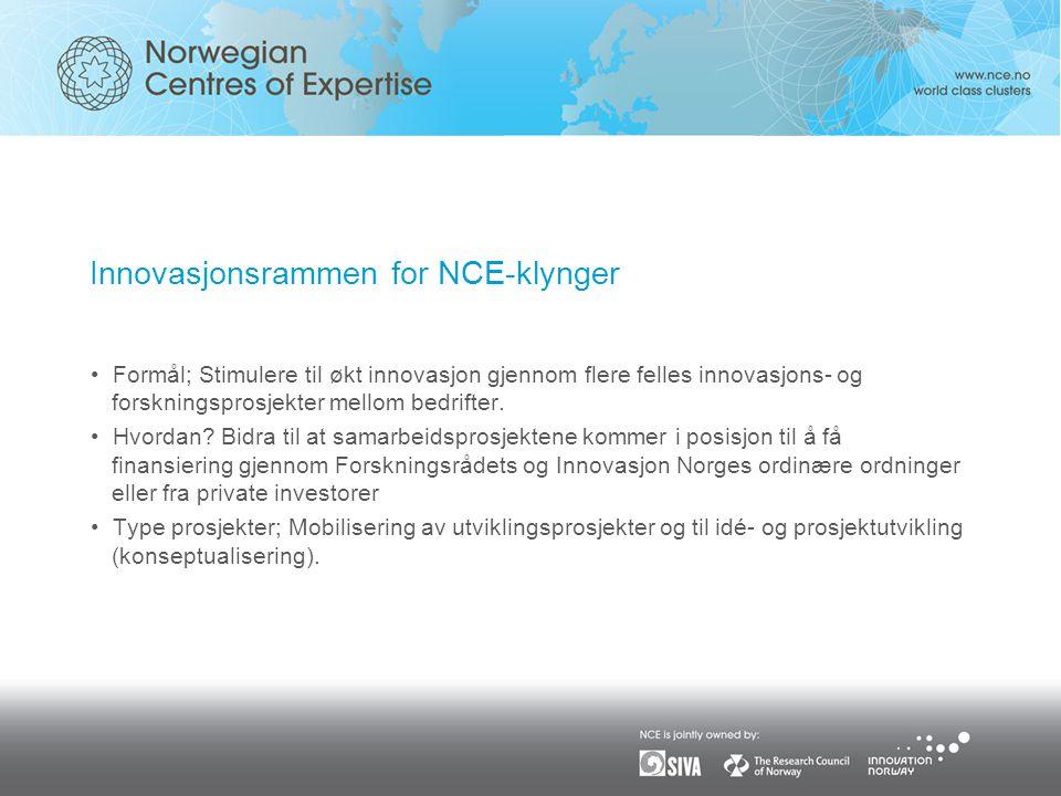 Innovasjonsrammen for NCE-klynger •Formål; Stimulere til økt innovasjon gjennom flere felles innovasjons- og forskningsprosjekter mellom bedrifter.