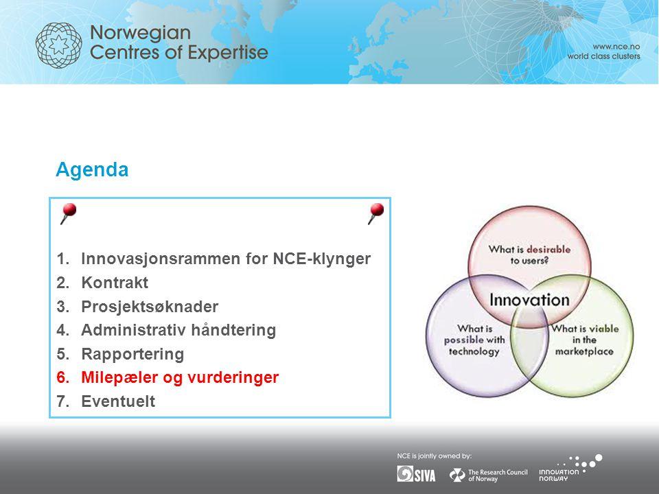 Agenda 1.Innovasjonsrammen for NCE-klynger 2.Kontrakt 3.Prosjektsøknader 4.Administrativ håndtering 5.Rapportering 6.Milepæler og vurderinger 7.Eventuelt