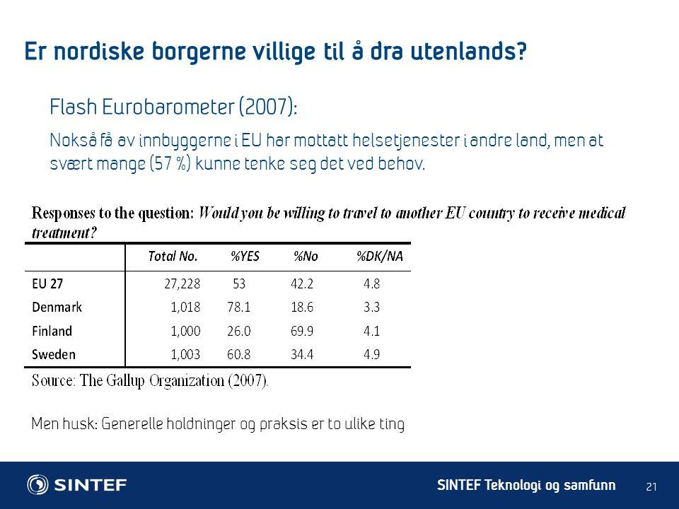 SINTEF Teknologi og samfunn Er nordiske borgerne villige til å dra utenlands.