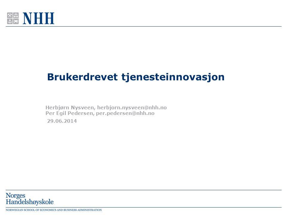 1.Tjenesteinnovasjon og annen innovasjon 2.Brukerdrevet innovasjon – historisk utvikling 1.Markeds- og kundeorientert innovasjon 2.Brukersentrert innovasjon og lead users 3.Åpen innovasjon 4.Samskapt innovasjon (co-creation) 3.Brukerdrevet tjenesteinnovasjon i konsumentmarkedet m.