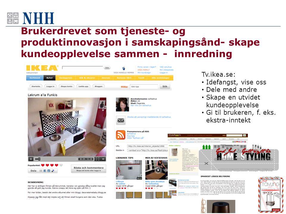 Brukerdrevet som tjeneste- og produktinnovasjon i samskapingsånd- skape kundeopplevelse sammen - innredning 13 Tv.ikea.se: • Idefangst, vise oss • Del