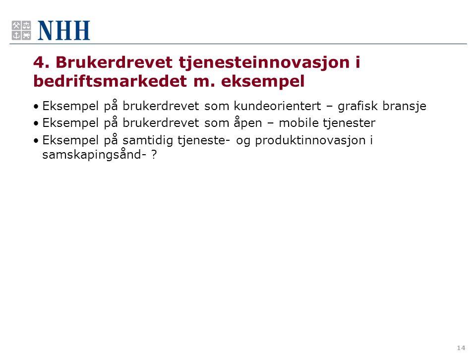 4. Brukerdrevet tjenesteinnovasjon i bedriftsmarkedet m. eksempel •Eksempel på brukerdrevet som kundeorientert – grafisk bransje •Eksempel på brukerdr