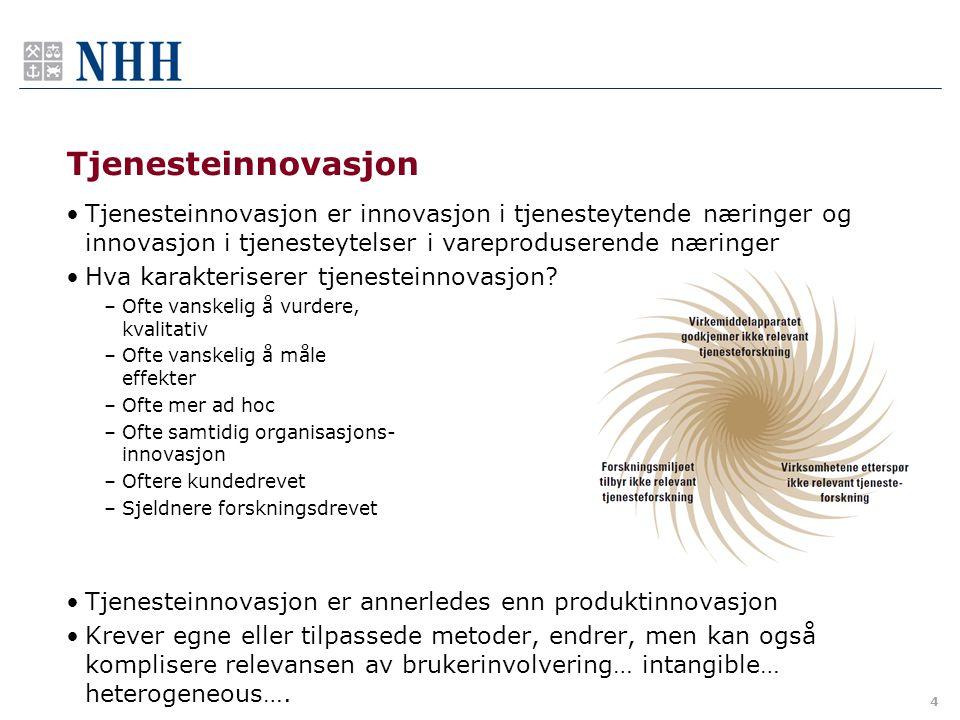 Tjenesteinnovasjon •Tjenesteinnovasjon er innovasjon i tjenesteytende næringer og innovasjon i tjenesteytelser i vareproduserende næringer •Hva karakt