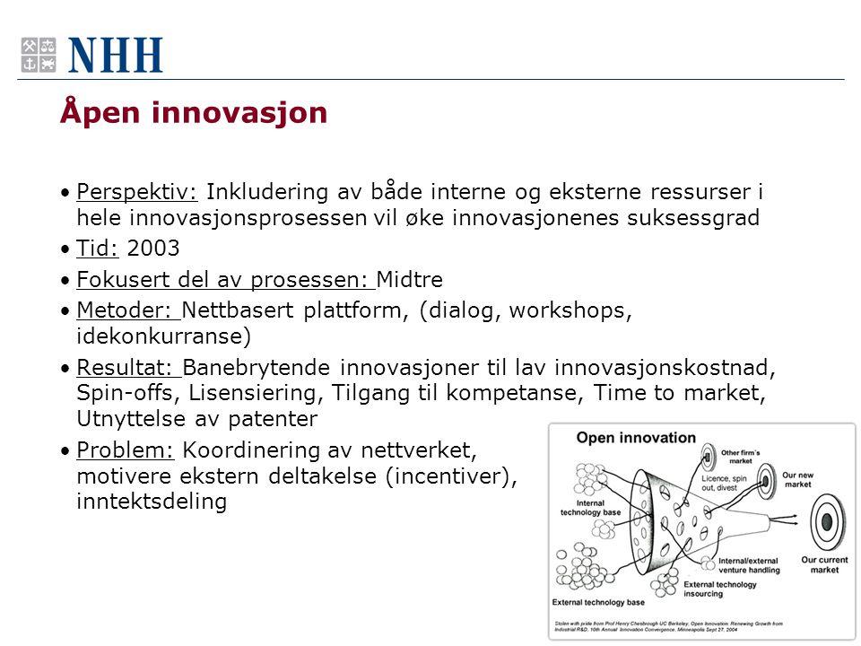 Åpen innovasjon •Perspektiv: Inkludering av både interne og eksterne ressurser i hele innovasjonsprosessen vil øke innovasjonenes suksessgrad •Tid: 20