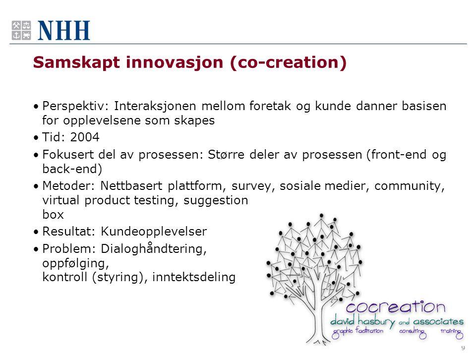 Samskapt innovasjon (co-creation) •Perspektiv: Interaksjonen mellom foretak og kunde danner basisen for opplevelsene som skapes •Tid: 2004 •Fokusert d