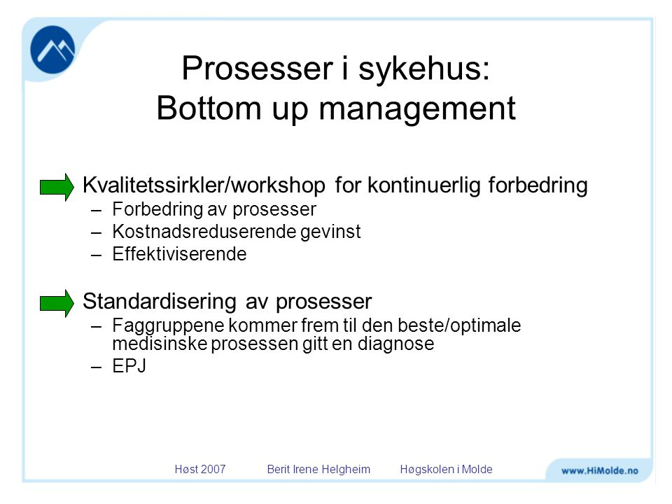Høst 2007 Berit Irene Helgheim Høgskolen i Molde Lean Thinking Principles Specify value by diagnosis Facilitate patient flow Identify processes that add value In pursuit of Perfection Not focussed on minimizing cost Focus on maximizing value Everything that does not add value for the patient Lean Waste (muda)