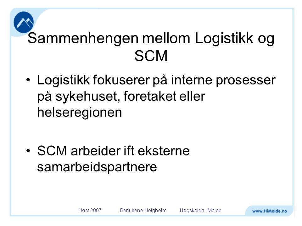 Høst 2007 Berit Irene Helgheim Høgskolen i Molde Sammenhengen mellom Logistikk og SCM •Logistikk fokuserer på interne prosesser på sykehuset, foretake