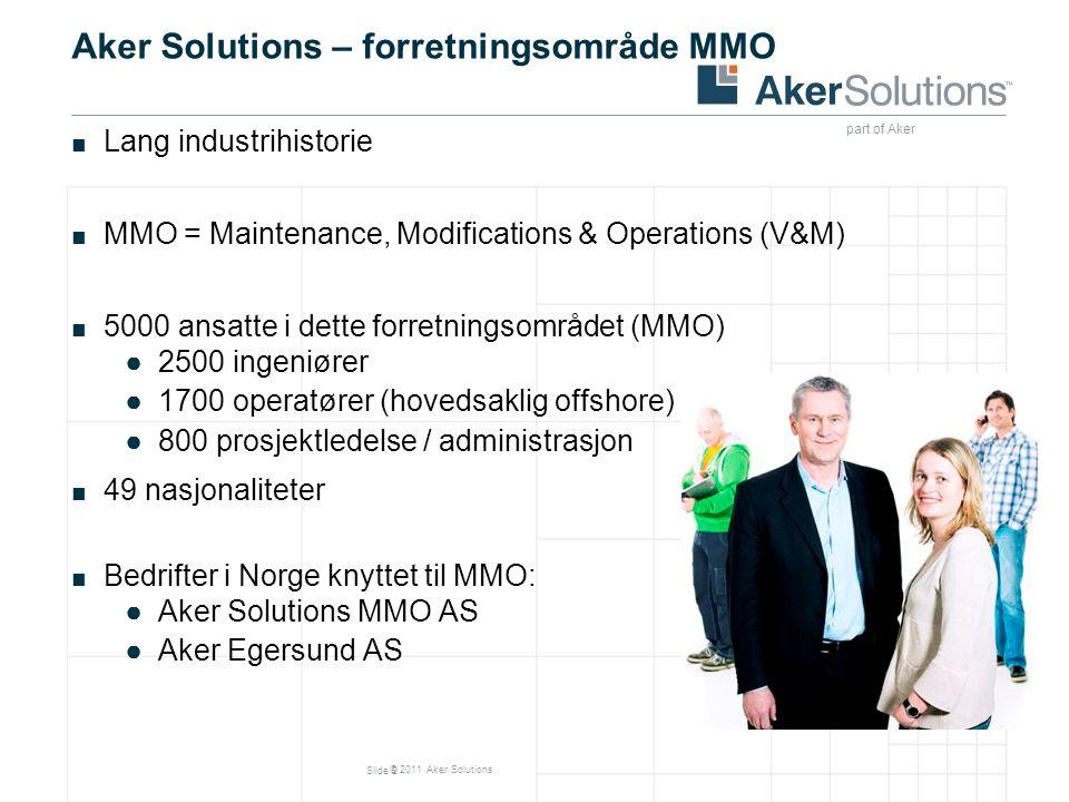 © 2011 Aker Solutions Aker Solutions – forretningsområde MMO ■ Lang industrihistorie ■ MMO = Maintenance, Modifications & Operations (V&M) ■ 5000 ansa
