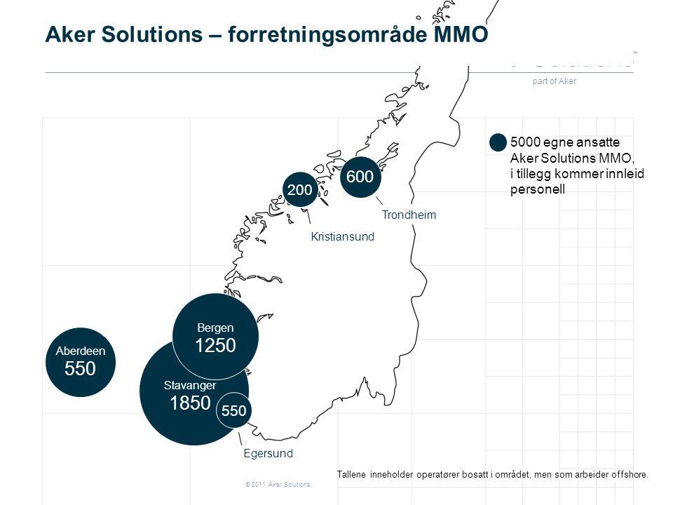 part of Aker © 2011 Aker Solutions Aker Solutions – forretningsområde MMO Stavanger 1850 Bergen 1250 Aberdeen 550 5000 egne ansatte Aker Solutions MMO