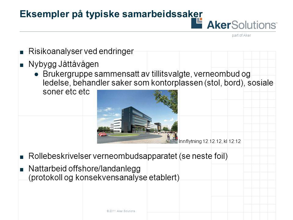 part of Aker © 2011 Aker Solutions Eksempler på typiske samarbeidssaker ■ Risikoanalyser ved endringer ■ Nybygg Jåttåvågen ●Brukergruppe sammensatt av