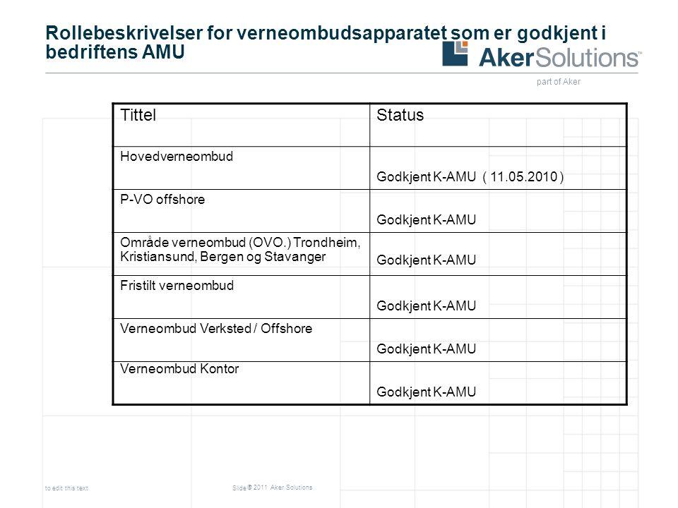 part of Aker © 2011 Aker Solutions to edit this textSlide 7 TittelStatus Hovedverneombud Godkjent K-AMU ( 11.05.2010 ) P-VO offshore Godkjent K-AMU Om