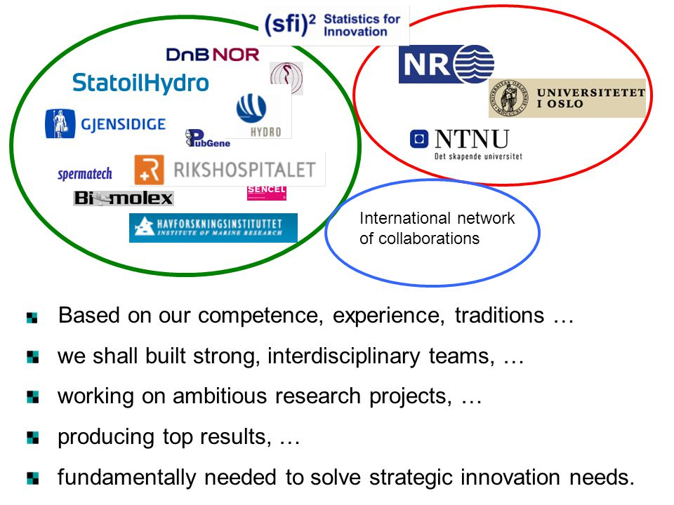 Based on our competence, experience, traditions … we shall built strong, interdisciplinary teams, … working on ambitious research projects, … producin