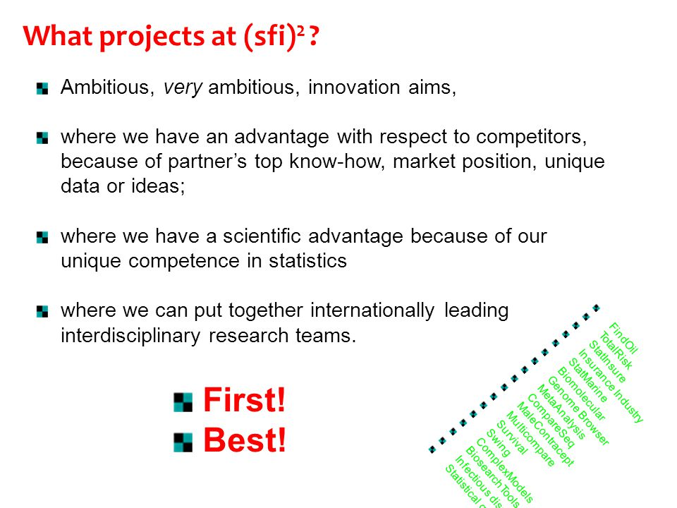 Ambitious, very ambitious, innovation aims, where we have an advantage with respect to competitors, because of partner's top know-how, market position, unique data or ideas; where we have a scientific advantage because of our unique competence in statistics where we can put together internationally leading interdisciplinary research teams.