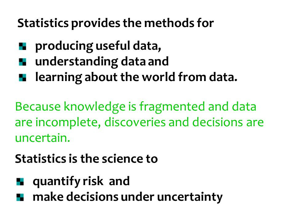 Statistics provides the methods for producing useful data, understanding data and learning about the world from data. Because knowledge is fragmented