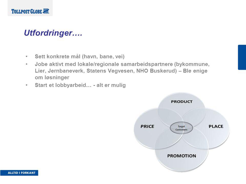 Utfordringer…. •Sett konkrete mål (havn, bane, vei) •Jobe aktivt med lokale/regionale samarbeidspartnere (bykommune, Lier, Jernbaneverk, Statens Vegve