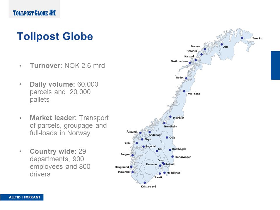 •Turnover: NOK 2.6 mrd •Daily volume: 60.000 parcels and 20.000 pallets •Market leader: Transport of parcels, groupage and full-loads in Norway •Count