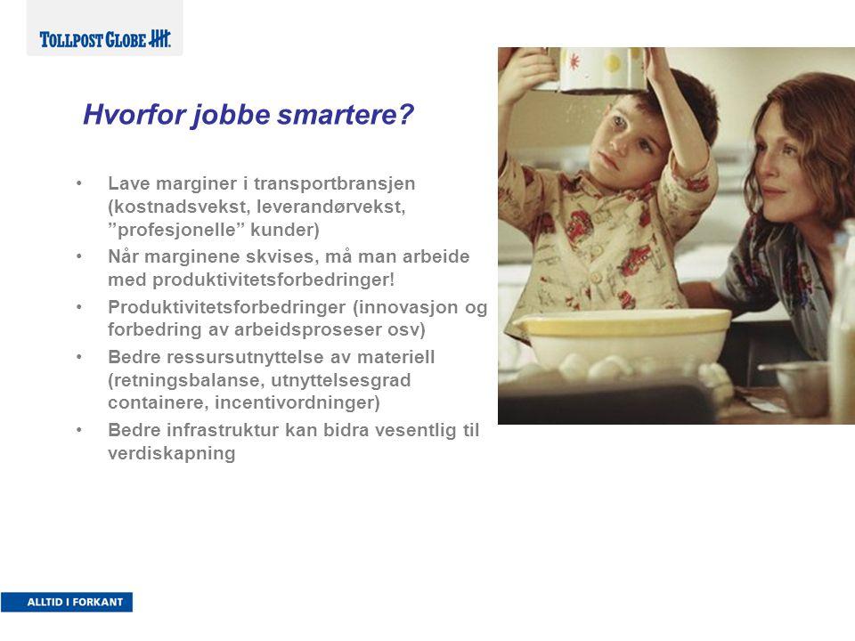 """Hvorfor jobbe smartere? •Lave marginer i transportbransjen (kostnadsvekst, leverandørvekst, """"profesjonelle"""" kunder) •Når marginene skvises, må man arb"""