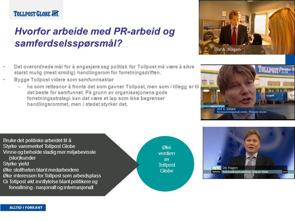 Interessenter Tollpost Media NGO / andre påvirkere Interesse- organisasjoner Leverandører Enheter/ medarbeidere (Stor)kunder Nasjonale, lokale politikere EiereEtater