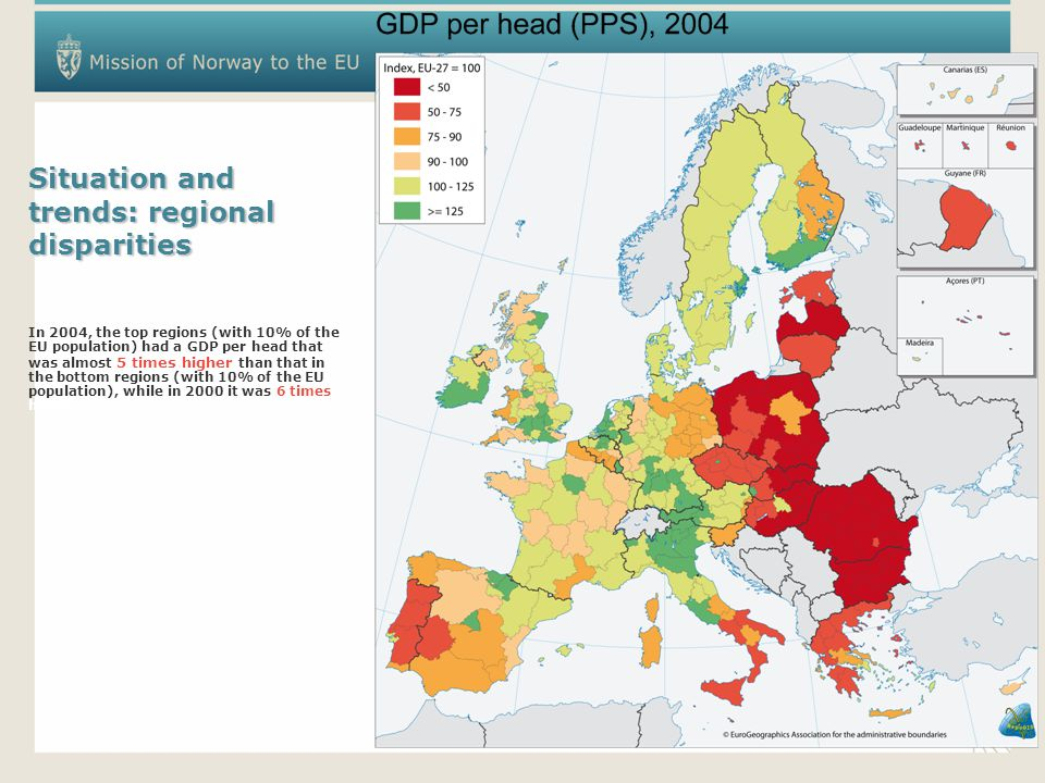 Situation and trends: regional disparities In 2004, the top regions (with 10% of the EU population) had a GDP per head that was almost 5 times higher