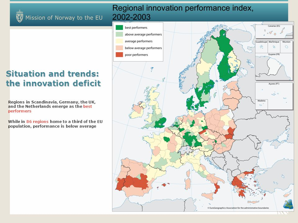 Situation and trends: the innovation deficit Regions in Scandinavia, Germany, the UK, and the Netherlands emerge as the best performers While in 86 regions home to a third of the EU population, performance is below average
