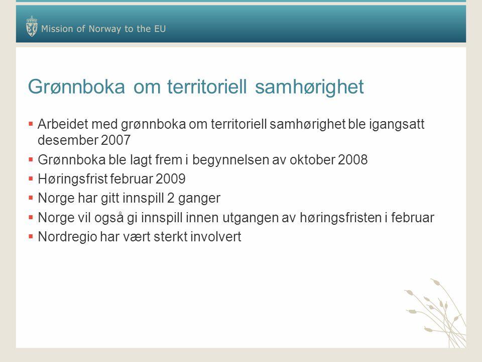 Grønnboka om territoriell samhørighet  Arbeidet med grønnboka om territoriell samhørighet ble igangsatt desember 2007  Grønnboka ble lagt frem i begynnelsen av oktober 2008  Høringsfrist februar 2009  Norge har gitt innspill 2 ganger  Norge vil også gi innspill innen utgangen av høringsfristen i februar  Nordregio har vært sterkt involvert