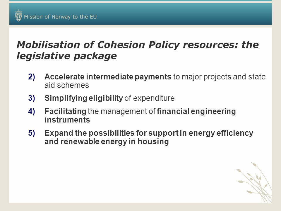 Mobilisation of Cohesion Policy resources: the legislative package 2)Accelerate intermediate payments to major projects and state aid schemes 3)Simplifying eligibility of expenditure 4)Facilitating the management of financial engineering instruments 5)Expand the possibilities for support in energy efficiency and renewable energy in housing