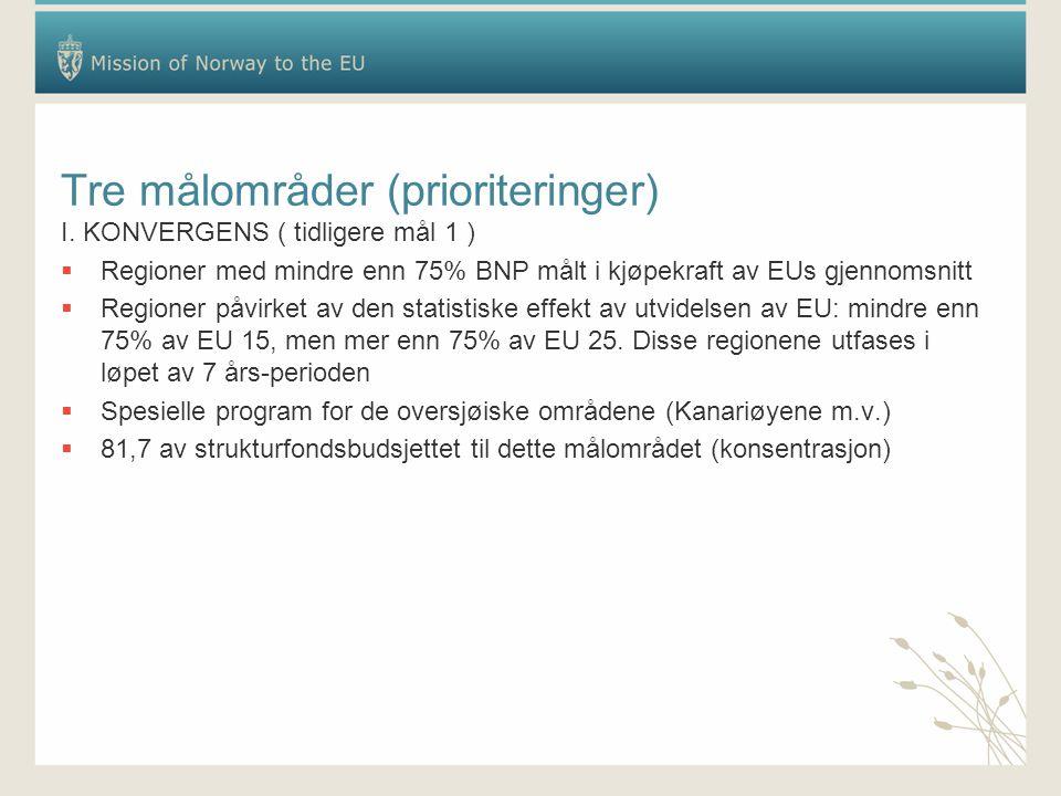 Tre målområder (prioriteringer) I. KONVERGENS ( tidligere mål 1 )  Regioner med mindre enn 75% BNP målt i kjøpekraft av EUs gjennomsnitt  Regioner p