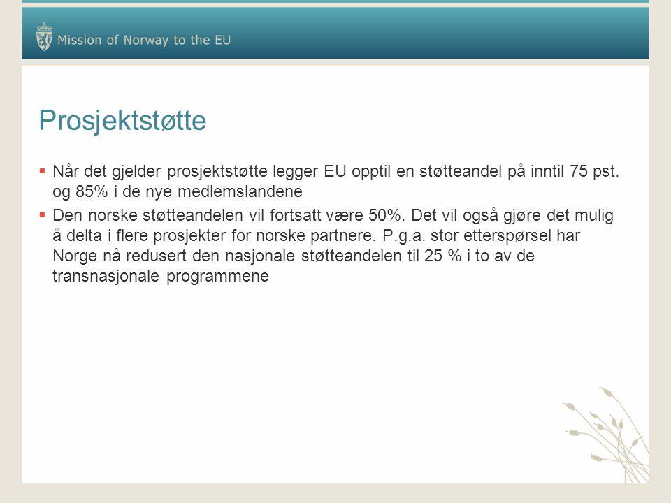 Prosjektstøtte  Når det gjelder prosjektstøtte legger EU opptil en støtteandel på inntil 75 pst. og 85% i de nye medlemslandene  Den norske støttean
