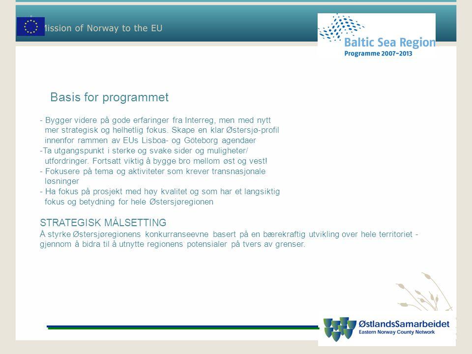 Basis for programmet - Bygger videre på gode erfaringer fra Interreg, men med nytt mer strategisk og helhetlig fokus. Skape en klar Østersjø-profil in