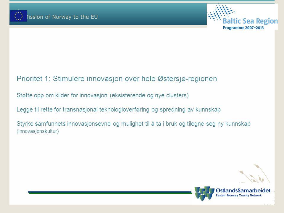 Prioritet 1: Stimulere innovasjon over hele Østersjø-regionen Støtte opp om kilder for innovasjon (eksisterende og nye clusters) Legge til rette for transnasjonal teknologioverføring og spredning av kunnskap Styrke samfunnets innovasjonsevne og mulighet til å ta i bruk og tilegne seg ny kunnskap (innovasjonskultur)