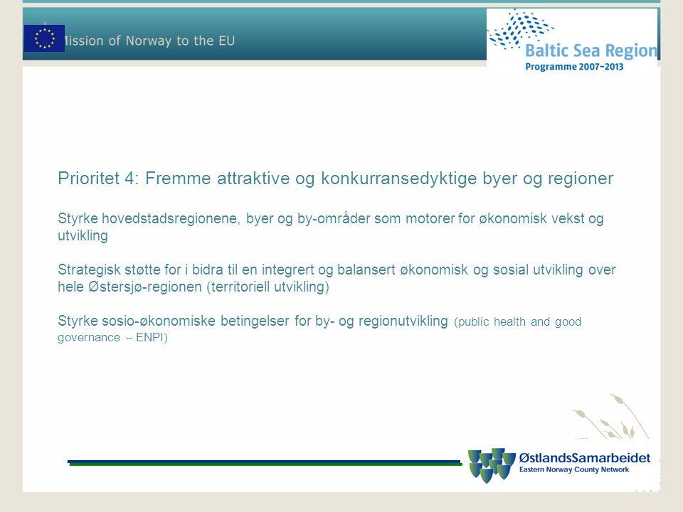 Prioritet 4: Fremme attraktive og konkurransedyktige byer og regioner Styrke hovedstadsregionene, byer og by-områder som motorer for økonomisk vekst o